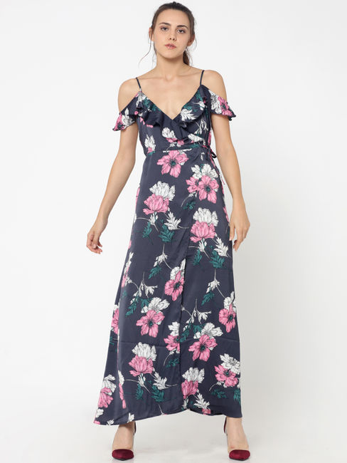 Dark Blue Floral Print Maxi Dress