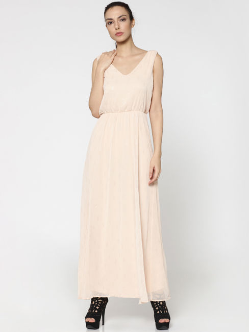 Beige Self Print Maxi Dress