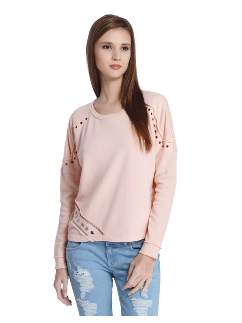 Peach Grommet Detail Sweatshirt