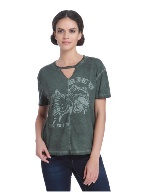 Green Graphic Print Top