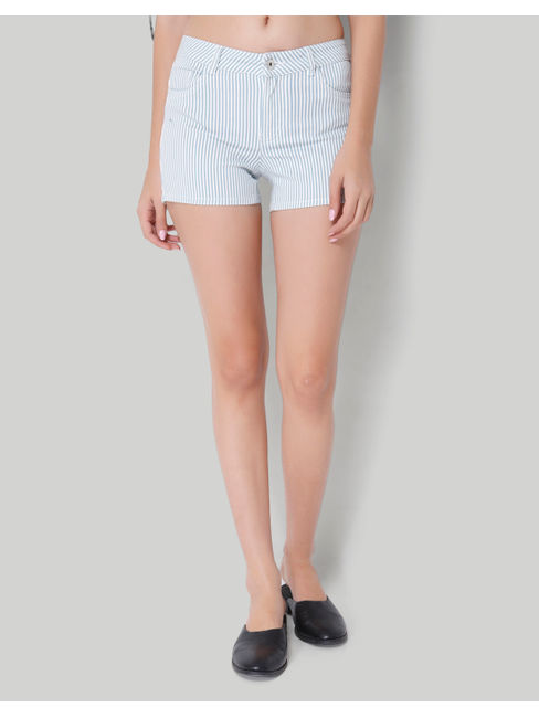 White Striped Mid Rise Loose Fit Shorts