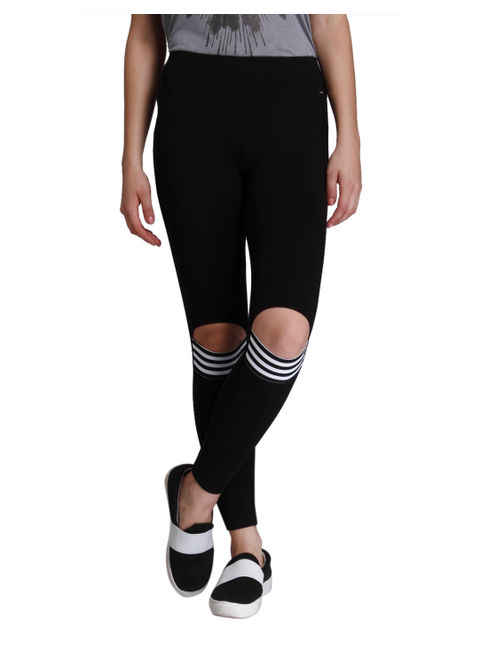 Black Front Knee Slit Leggings