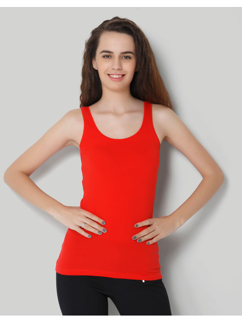 Red Solid Sleeveless Tank Top