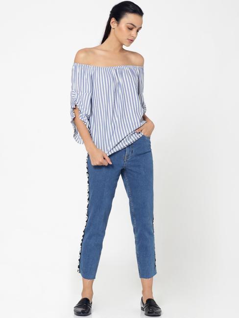 Blue Striped Off Shoulder Top