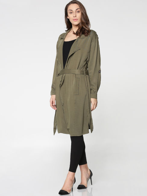 Green Tie Up Loose Trench Coat