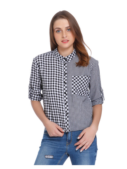White & Black Check Shirt