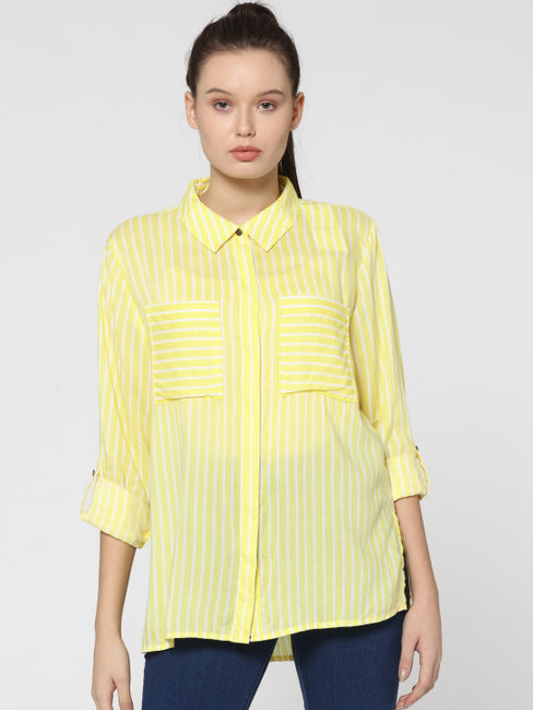 Yellow Striped Two Pocket Shirt