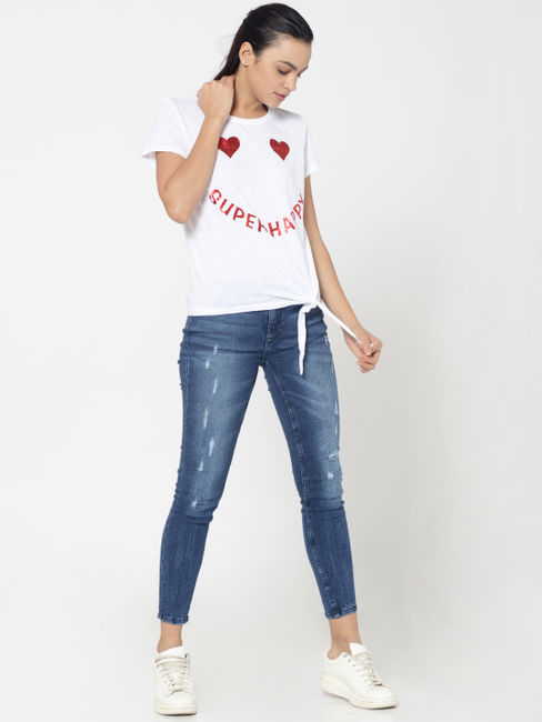 White Heart And Text Print Knot Detail T-Shirt