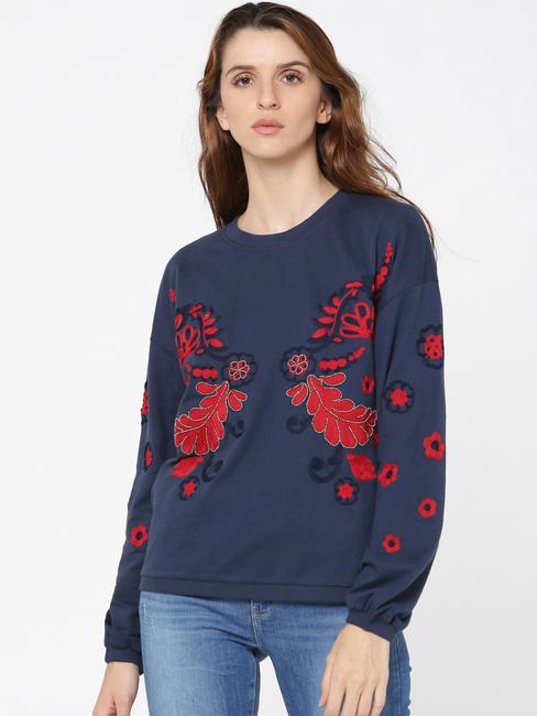 Blue Embroidered Sweatshirt