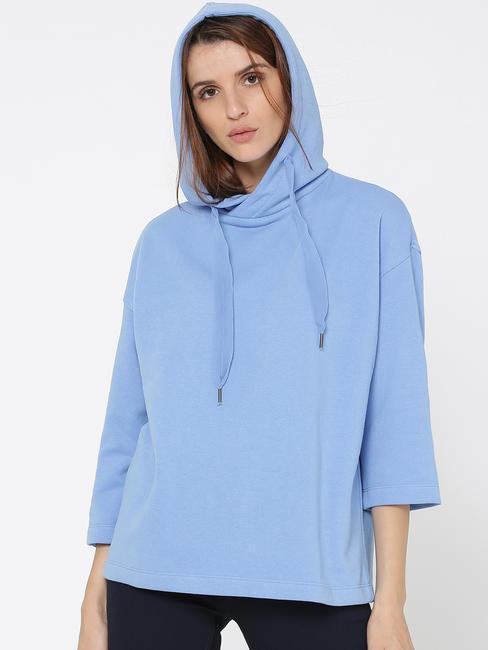 Blue Hooded Loose Fit Sweatshirt