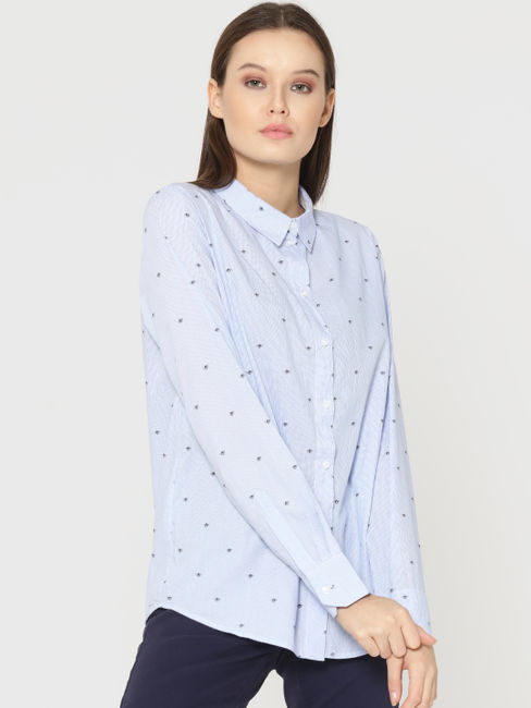 Blue Striped Fly Print Shirt