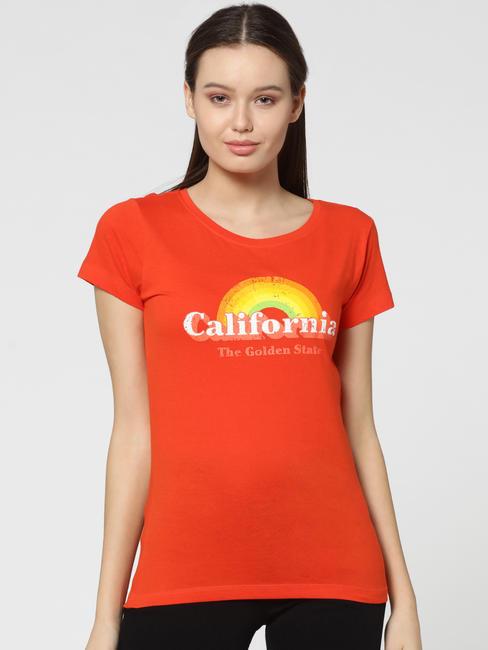 Orange CALIFORNIA Print T-Shirt