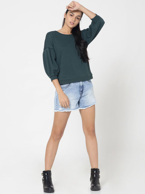 Green Balloon Sleeves Sweatshirt