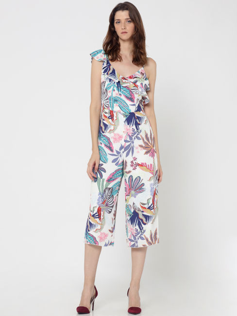 White Tropical Print Culotte Jumpsuit