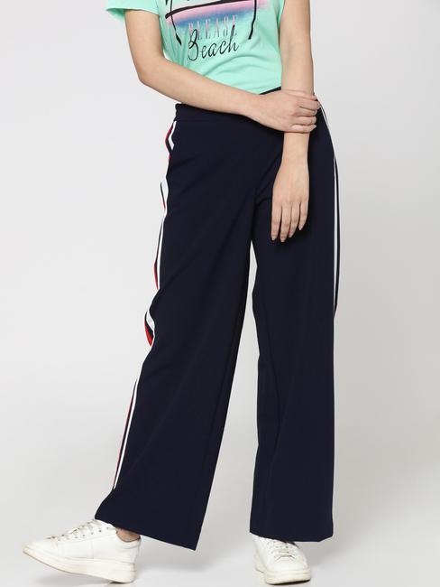 Dark Blue Side Striped Wide Leg Pants