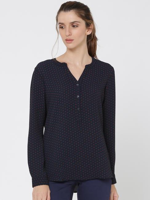 Dark Blue Dotted V-Neck Shirt