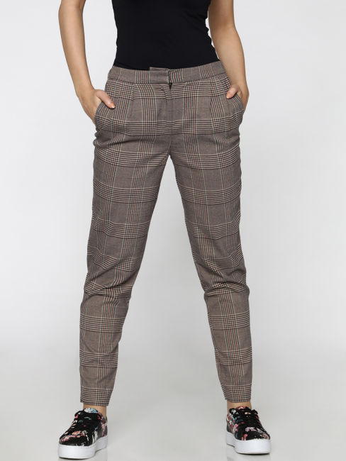 Grey High-Rise Check Comfort Fit Pants