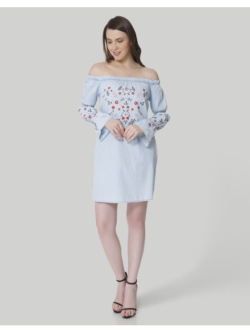 Light Blue Embroidered Off Shoulder Mini Dress