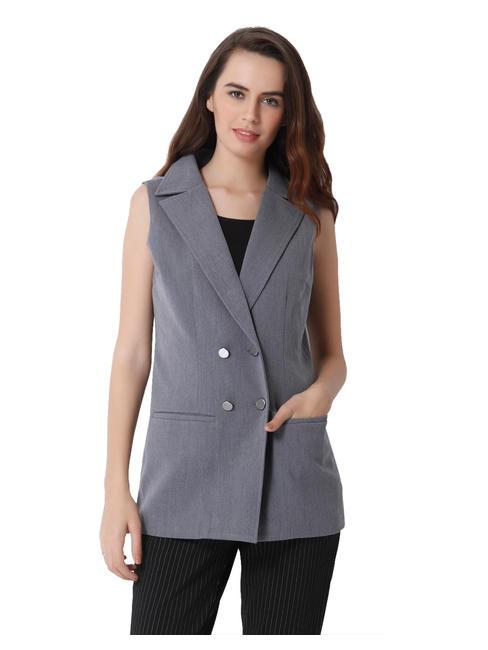 Light Grey Double Breasted Long Waistcoat