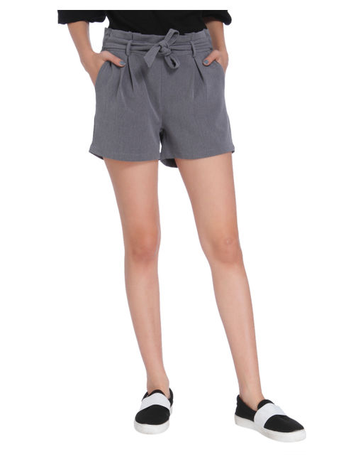 Grey Tie Waist Mid Rise Slim Fit Shorts