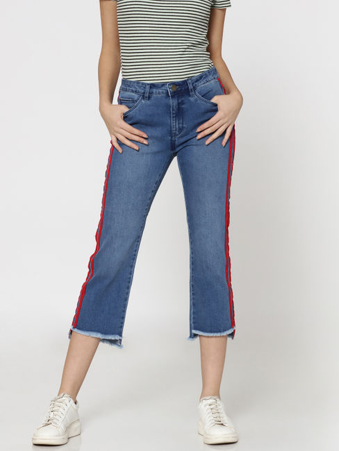 Blue Mid Rise Red Racer Striped Regular Fit Cropped Jeans