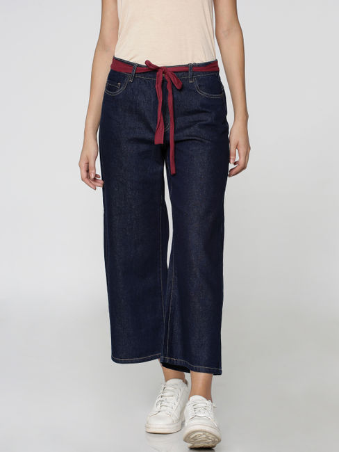 Dark Blue High-Waisted Denim Culottes