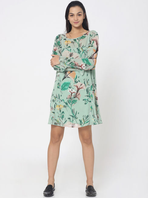 Green Floral Print Frill Detail Mini Dress