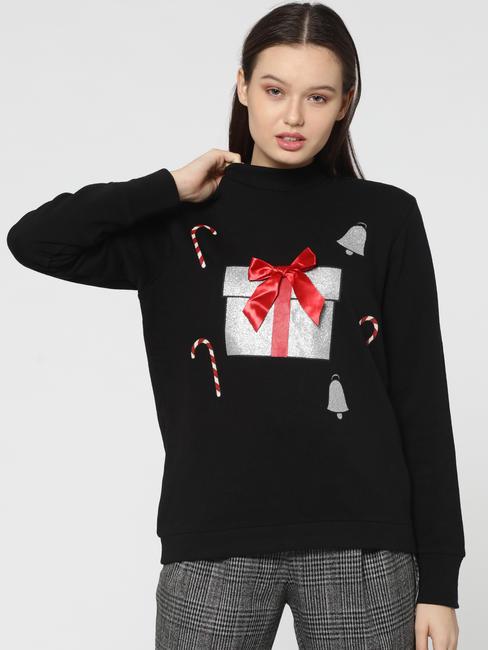 Black Gift Box Print High Neck Sweatshirt