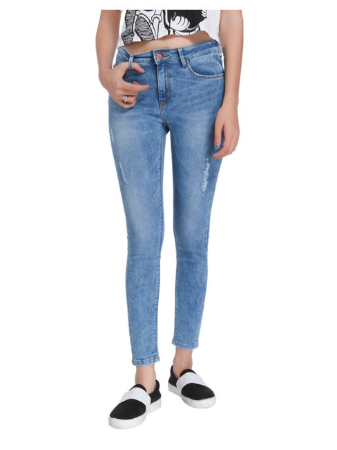 Light Blue Distressed Mid Rise Skinny Fit Jeans