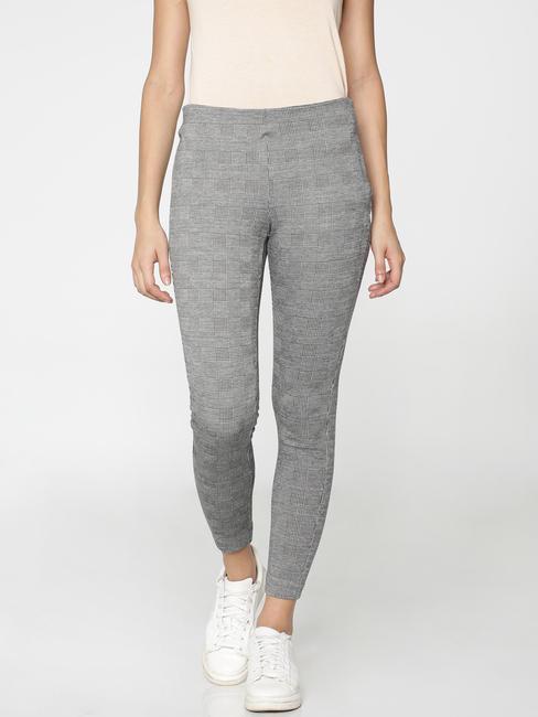 Black and White Check High Waist Leggings