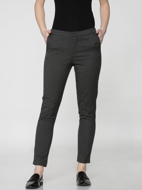Dark Grey Mid Rise Ankle Length Comfort Fit Pants