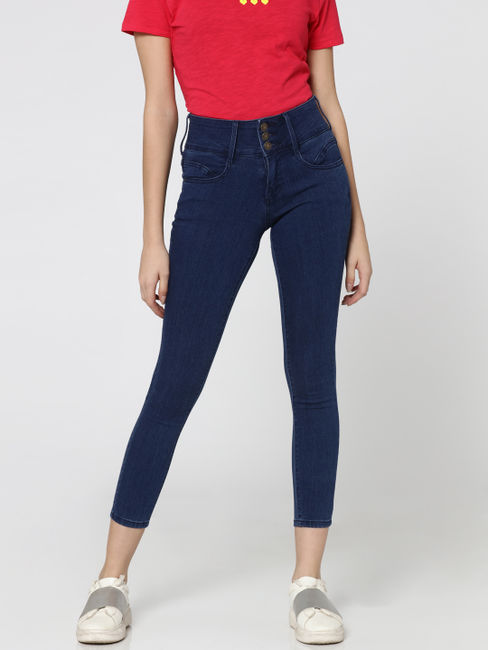 Blue Mid Rise Skinny Fit Denim Pants