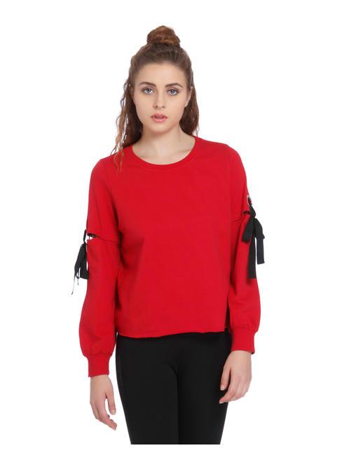 Red Eyelet Detail Sweatshirt