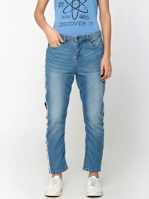 Light Blue Mid Rise Tape Detail Boyfriend Jeans