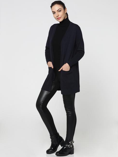 Dark Blue Front Open Long Cardigan