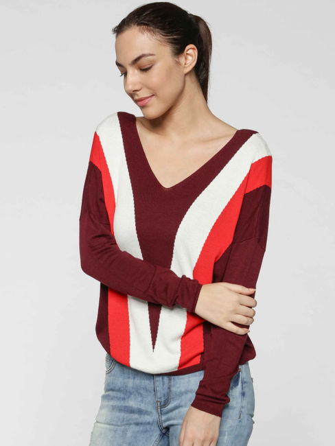 Burgundy Colourblocked Striped Pullover