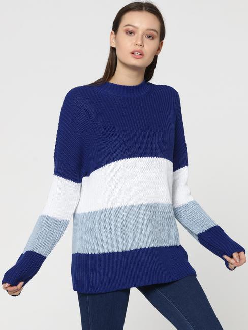Blue Colourblocked Sweater