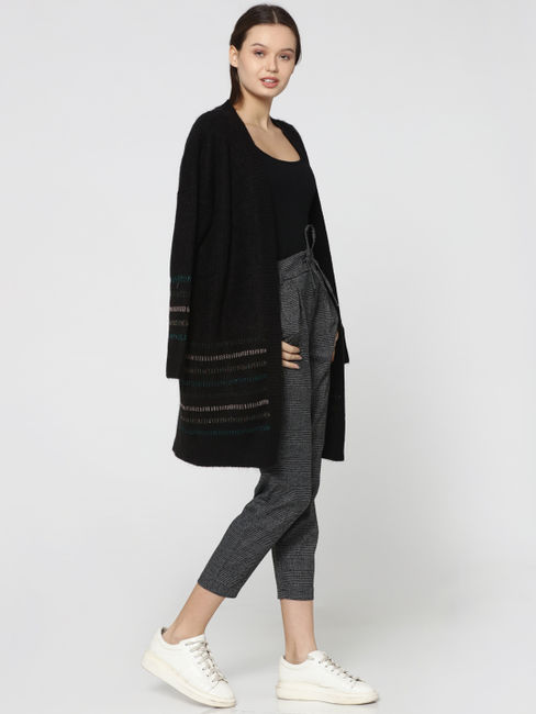 Black Mid Rise Cropped Plaid Pants