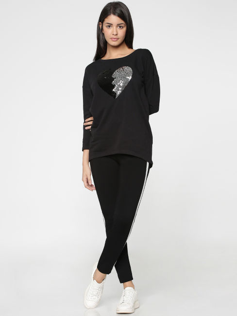 Black Sequinned Heart Print Sweater
