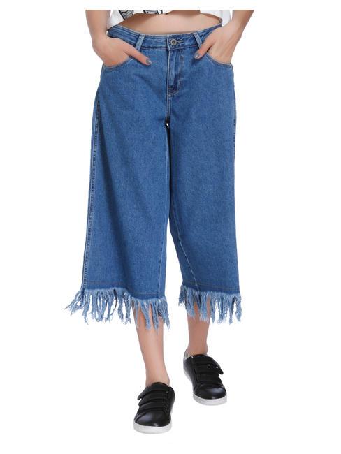 Blue Frayed Hem Denim Culottes
