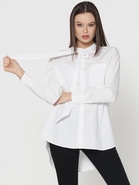 White Tie Neck Oversized Shirt