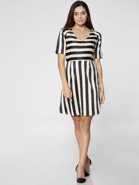 Black and White Stripped Mini Dress
