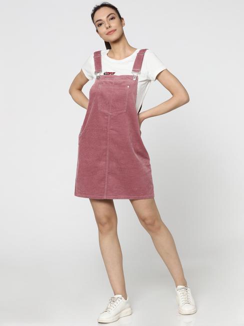 Pink Cord Sleeveless Short Dungaree