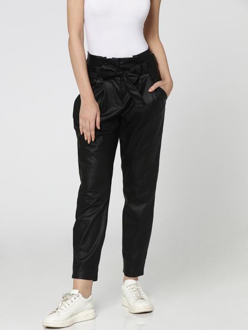 Black High Rise Paper Bag Waist Comfort Fit Pants