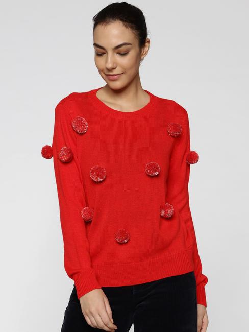 Red Pom Pom Detail Pullover