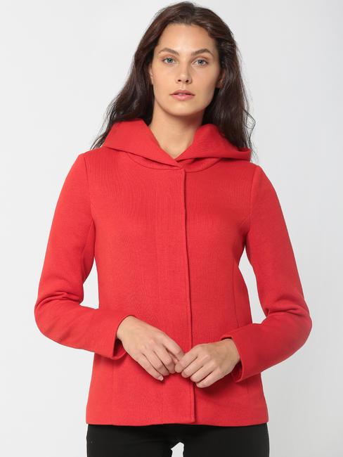 Red Hooded Short Jacket