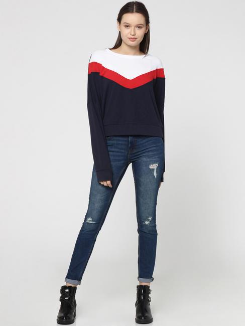 Dark Blue Colourblocked Batwing Sweatshirt