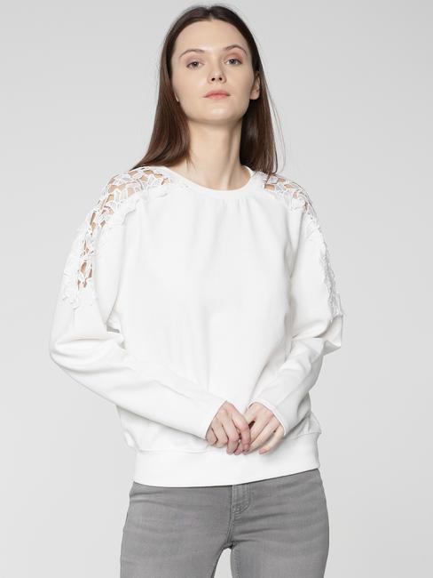 White Lace Detail Sweatshirt