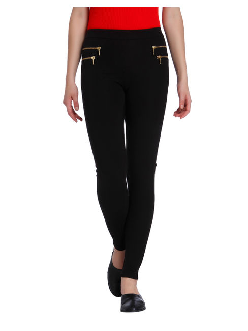 Black Zip Detail Leggings