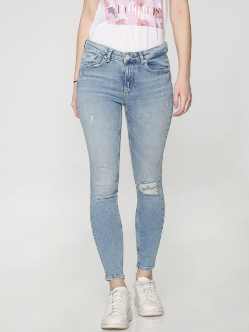 Light Blue Mid Rise Distressed Skinny Fit Jeans